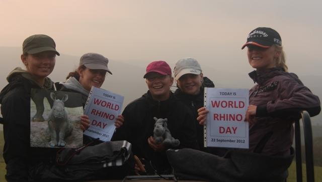 Conservation volunteers celebrate World Rhino Day 2012