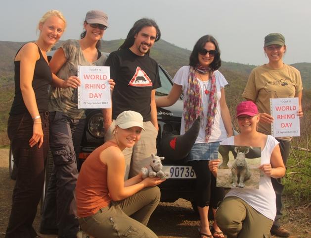 Volunteers celebrating World Rhino Day