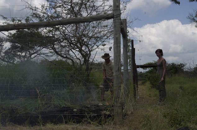 Wildlife Volunteers preparing the boma