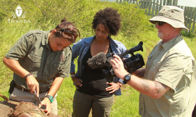Mariana Venter (Thanda Private Game Reserve) explains to the 50/50 team the use of bait. - photo courtesy Christian Sperka