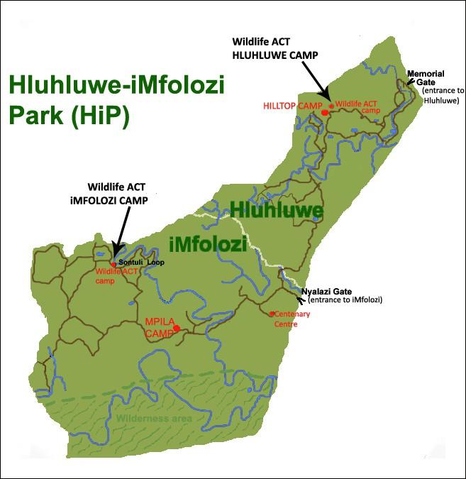 Hluhluwe-iMfolozi Park Map