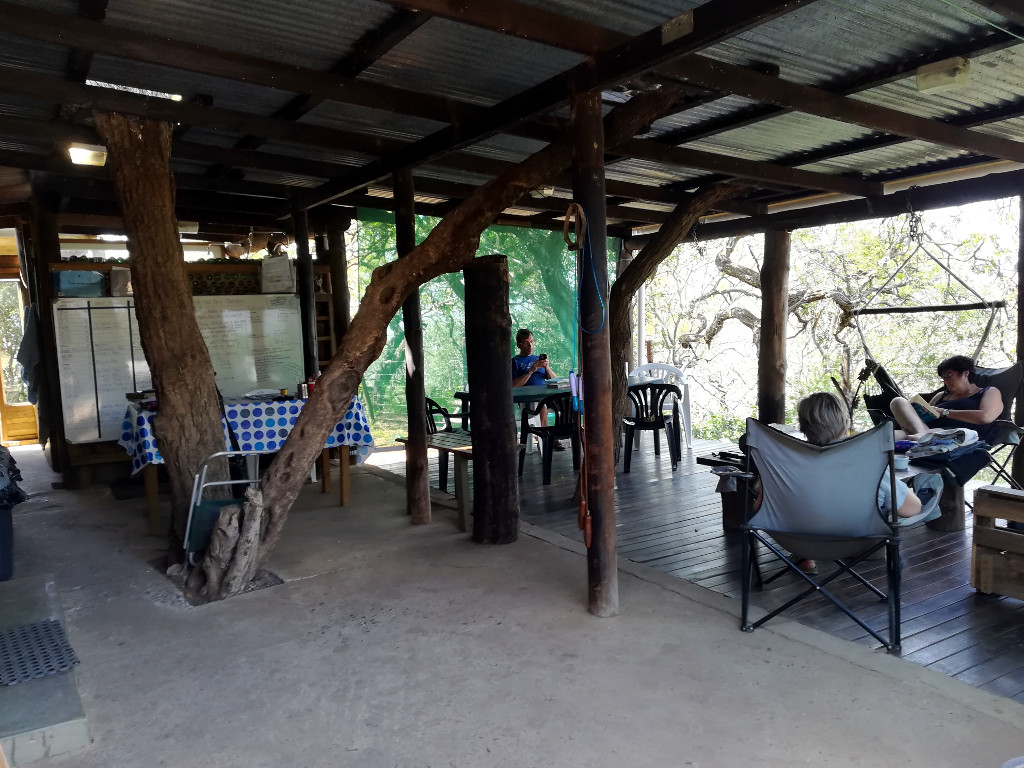 Volunteers relaxing at the iMfolozi camp after a monitoring session