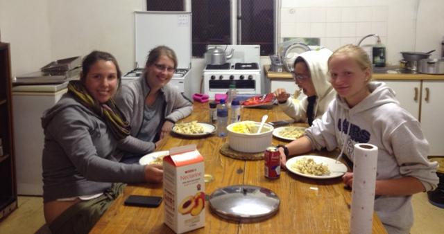 Volunteers eating Mac 'n' Cheese