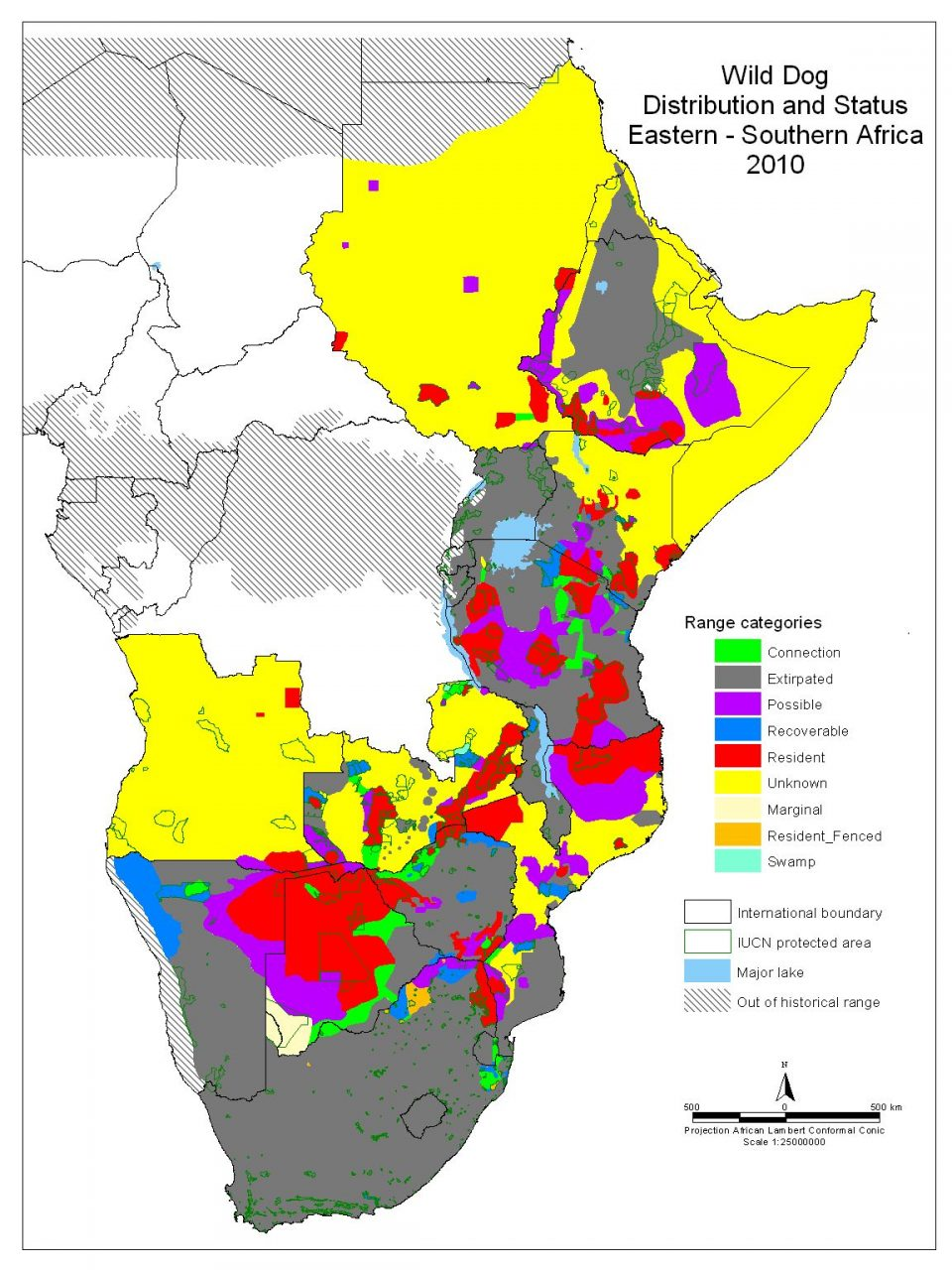 Wild dog Distribution in 2010