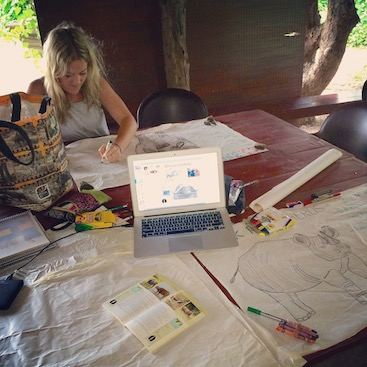 Making posters for our eco-club lesson, Liwonde National Park, Malawi