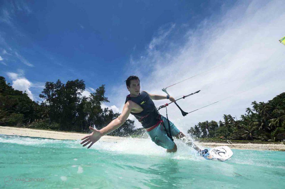 Kite surfing on North Island, Seychelles