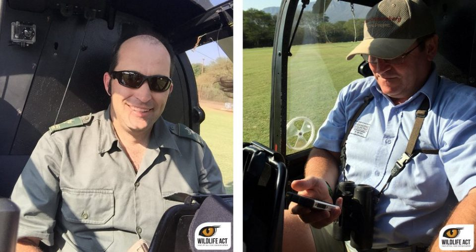 Left: Brent Coverdale of EKZNW, ready for spotting. Right: Andre Botha EWt preparing his GPS before take off.