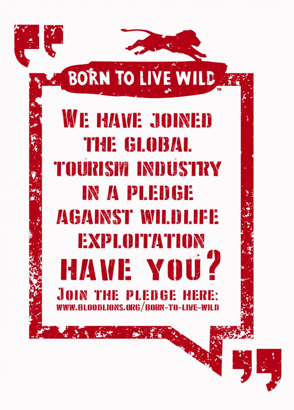 Born to live wild pledge - Support World Lion Day 2016