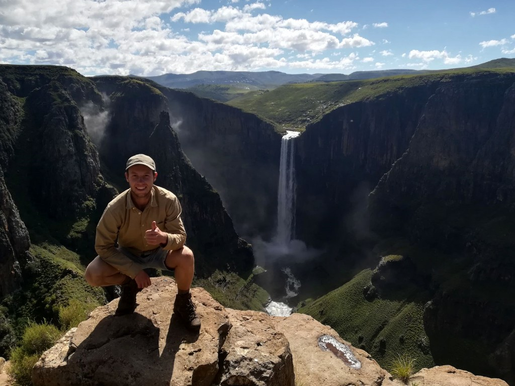 Bram van Schaffelaar at Maletsunyane Falls in Lesotho. Volunteering with Wildlife ACT