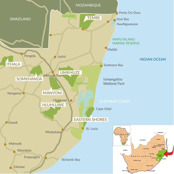 Map of the wildlife reserves Wildlife ACT is working for in Zululand. Bottom-right shows the map of South Africa and the location of KwaZulu-Natal.