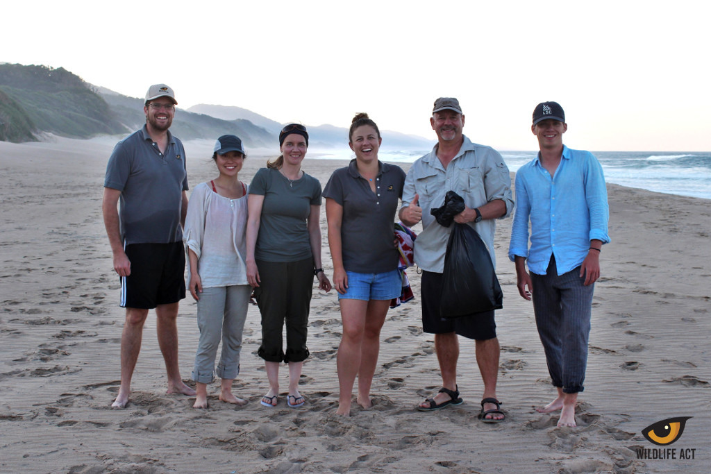 The Wildlife ACT Leopard Survey Team members alongside their conservation volunteers after a beach clean-up at Cape Vidal, iSimangaliso Wetland Park.
