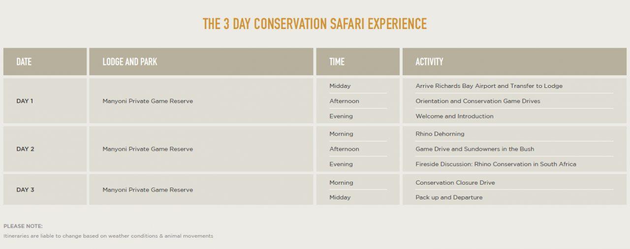 The 3 Day Conservation Safari Experience